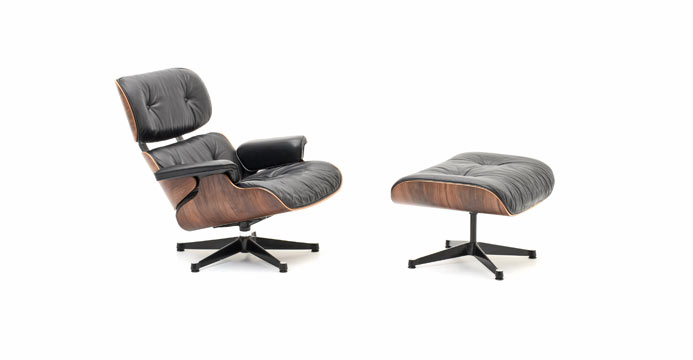 Eames lounge chair 6113 leder sessel sessel bogen33 for Eames sessel